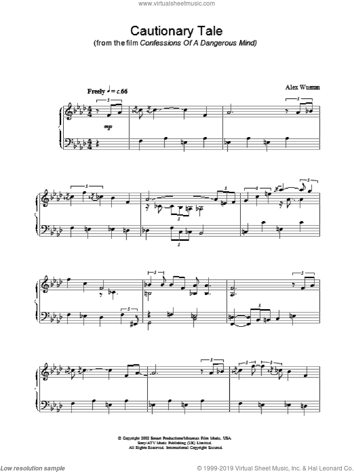 Cautionary Tale sheet music for piano solo by Confessions Of A Dangerous Mind and Alex Wurman, intermediate