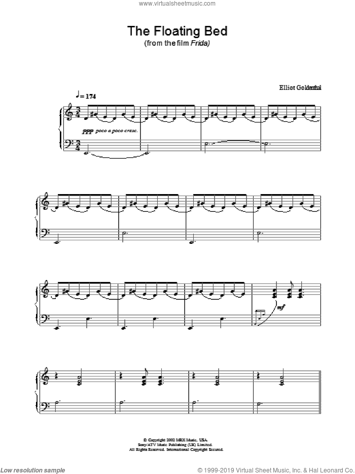 The Floating Bed sheet music for piano solo by Elliot Goldenthal. Score Image Preview.