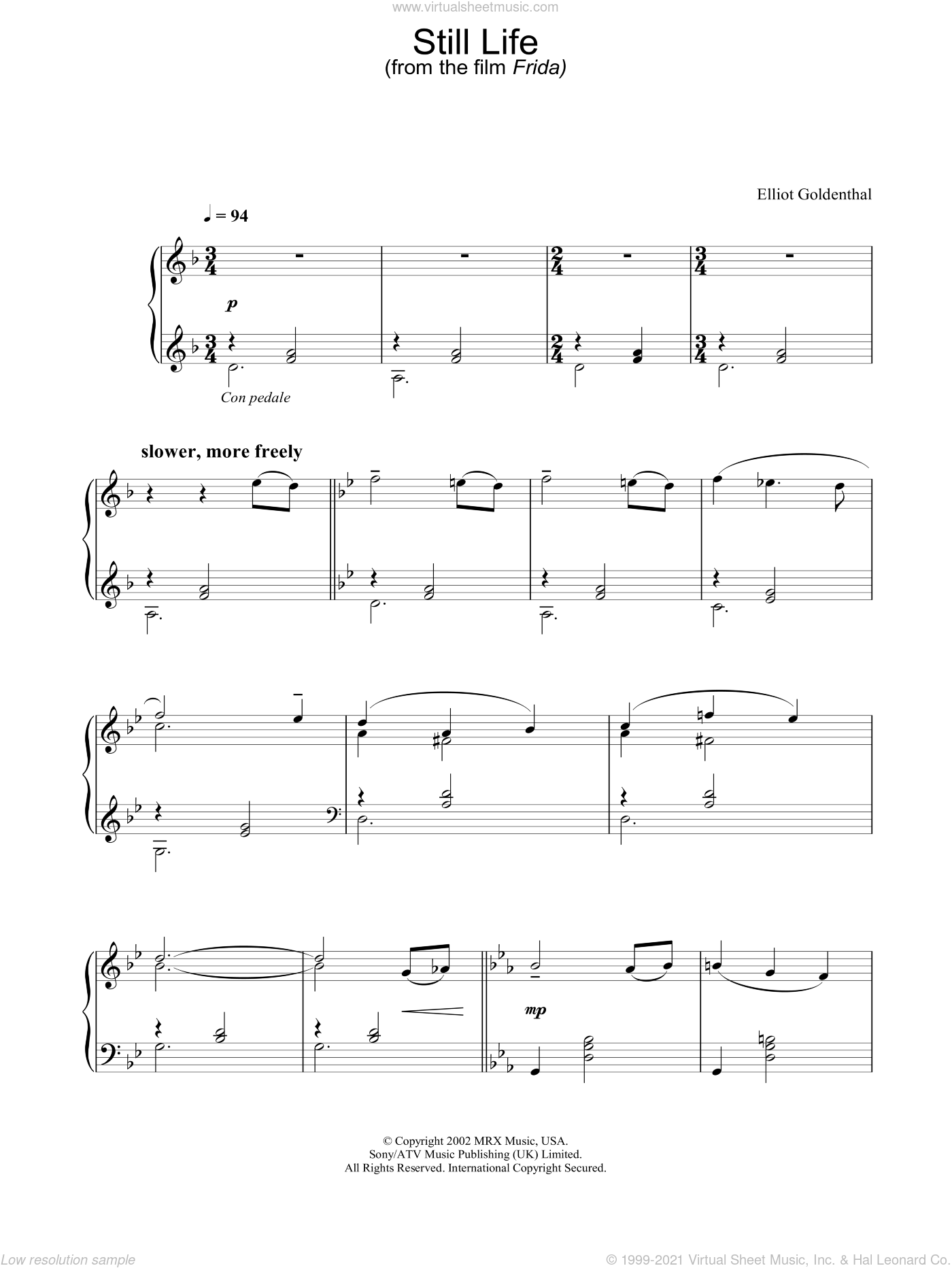 Still Life sheet music for piano solo by Elliot Goldenthal. Score Image Preview.