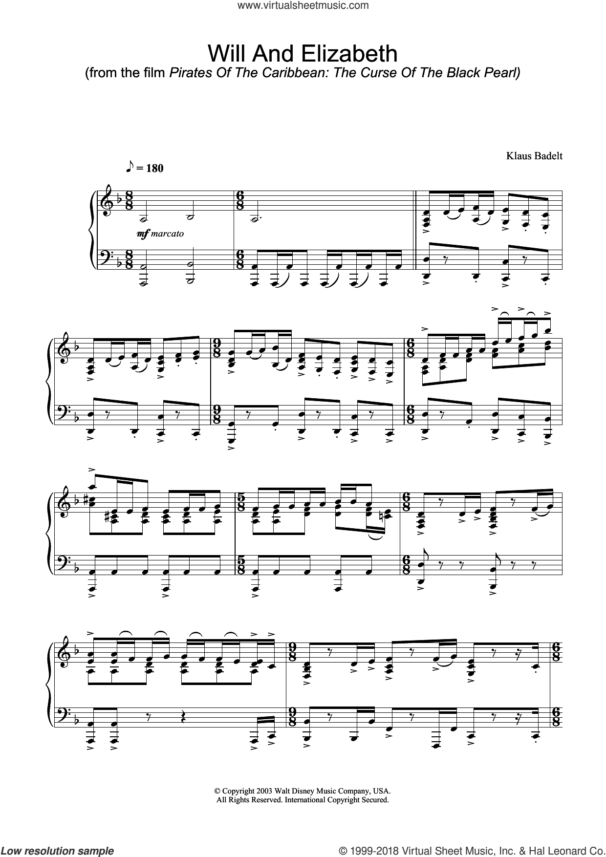 The Curse Of The Black Pearl: Will And Elizabeth sheet music for piano solo by Klaus Badelt. Score Image Preview.