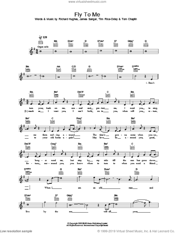 Fly To Me sheet music for voice and other instruments (fake book) by Tim Rice-Oxley. Score Image Preview.