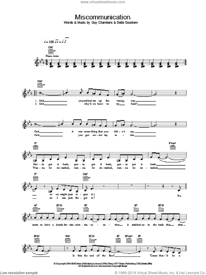 Miscommunication sheet music for voice and other instruments (fake book) by Guy Chambers and Delta Goodrem. Score Image Preview.
