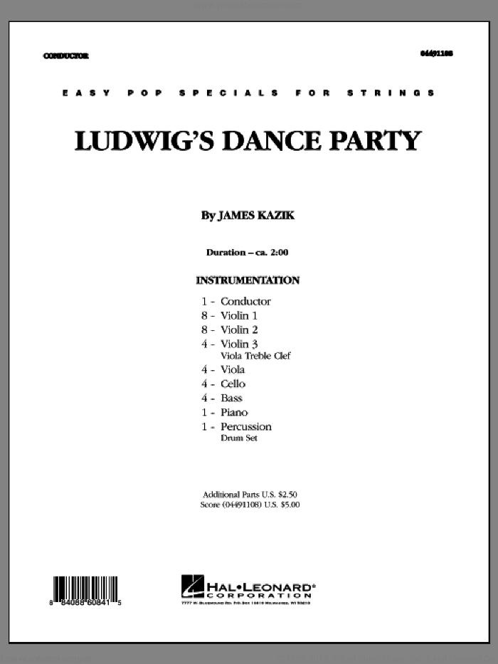 Ludwig's Dance Party (COMPLETE) sheet music for orchestra by Ludwig van Beethoven and James Kazik, classical score, intermediate skill level