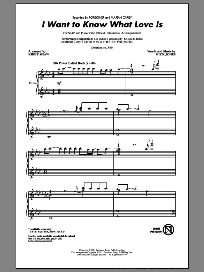 I Want To Know What Love Is sheet music for choir (SAB: soprano, alto, bass) by Kirby Shaw, Mick Jones, Foreigner and Mariah Carey, intermediate skill level