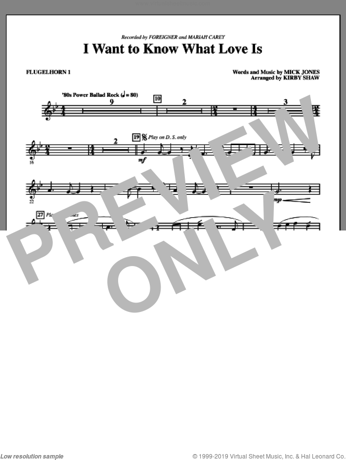 I Want To Know What Love Is (complete set of parts) sheet music for orchestra/band by Kirby Shaw, Mick Jones, Foreigner and Mariah Carey, intermediate skill level