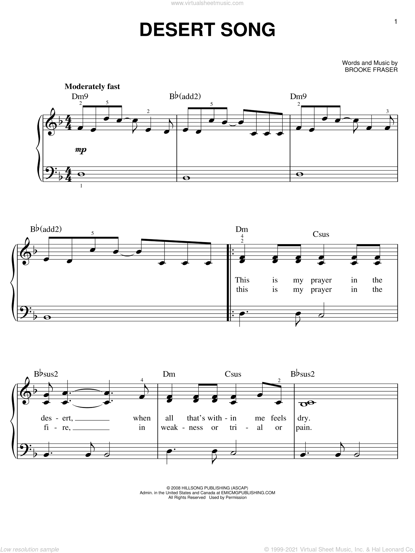 Desert Song sheet music for piano solo by Brooke Fraser and Hillsong Worship, easy skill level