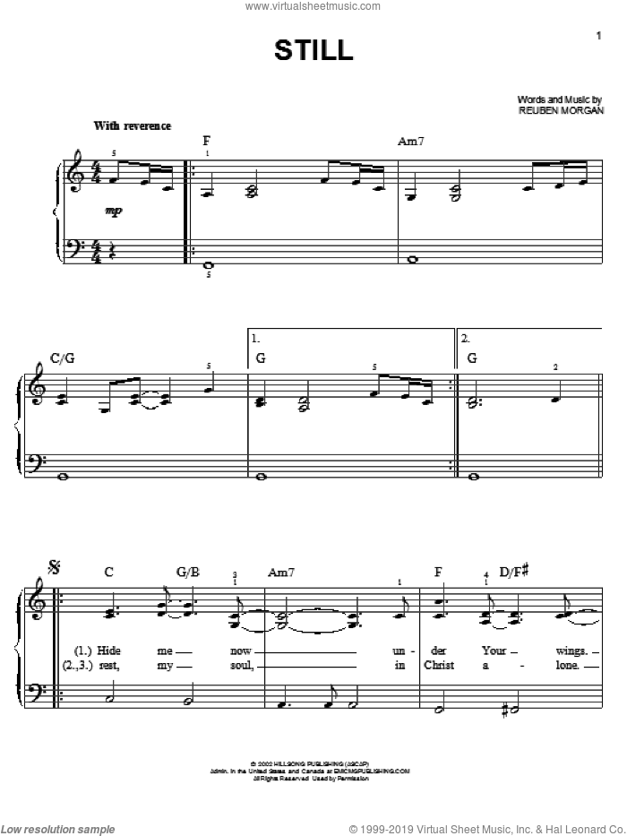 Still sheet music for piano solo by Reuben Morgan, easy skill level