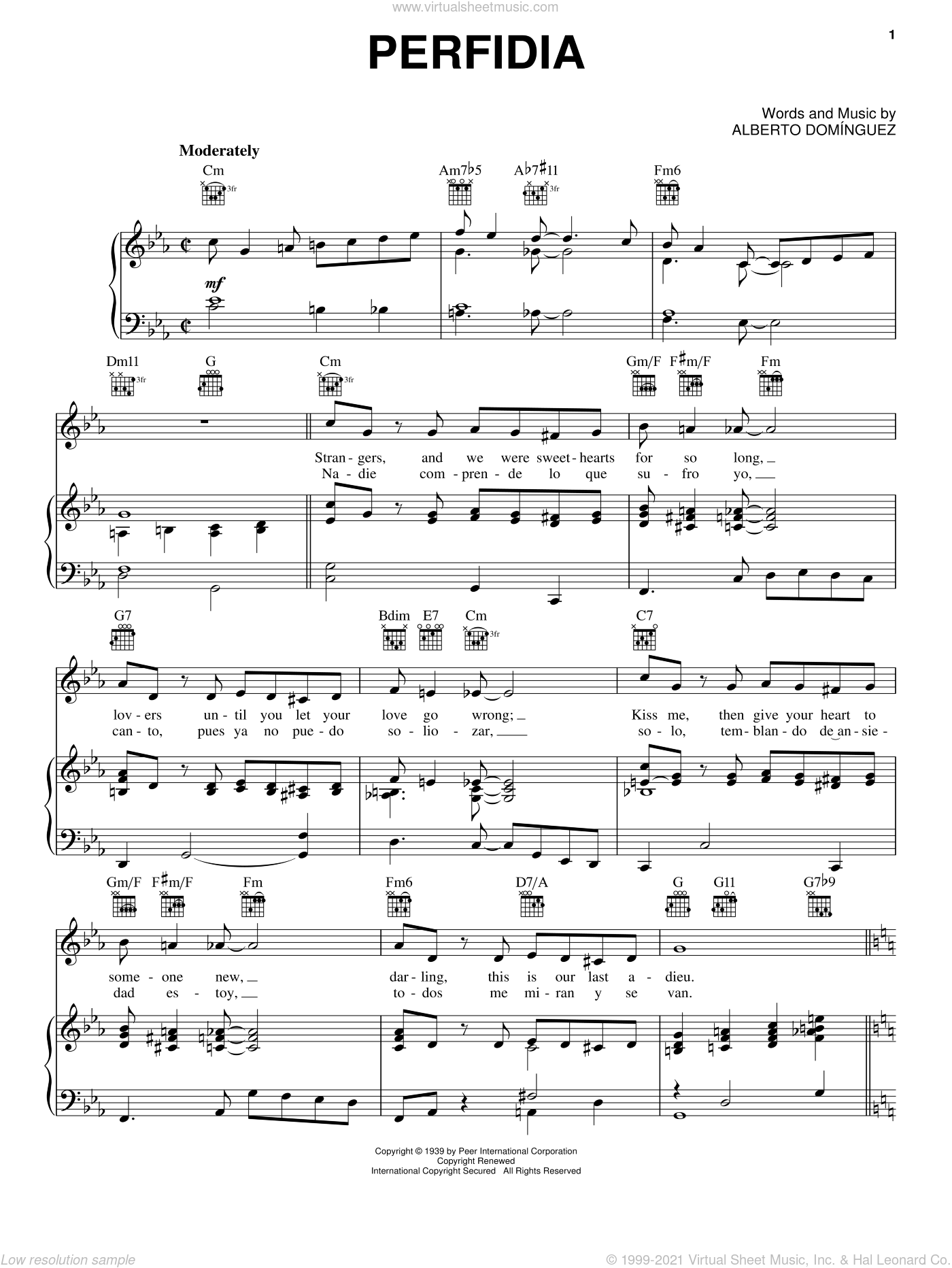 Perfidia sheet music for voice, piano or guitar by Alberto Dominguez, intermediate skill level