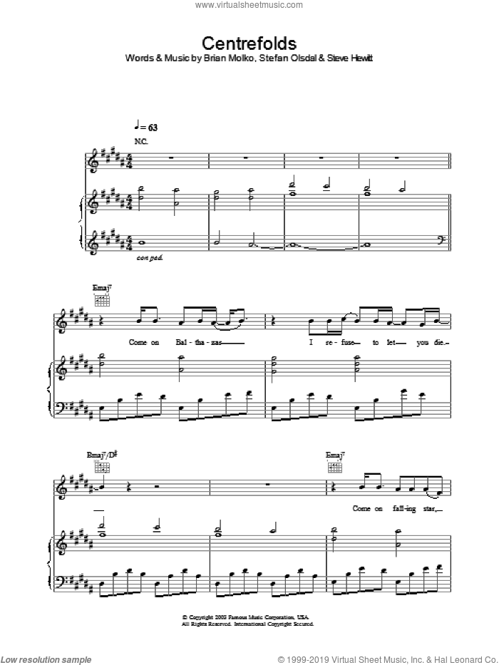Centrefolds sheet music for voice, piano or guitar by Steve Hewitt, Brian Molko and Stefan Olsdal. Score Image Preview.