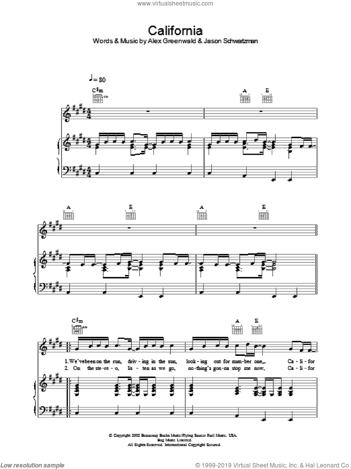 California sheet music for voice, piano or guitar by Phantom Planet, Alex Greenwald and Jason Schwartzman, intermediate skill level