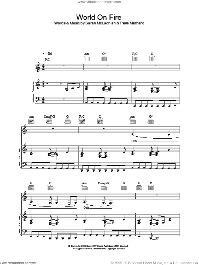 World On Fire sheet music for voice, piano or guitar by Sarah McLachlan and Pierre Marchand, intermediate skill level