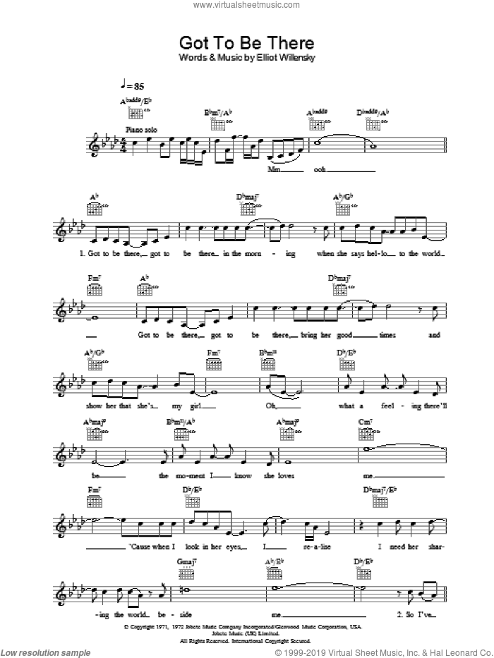 Got To Be There sheet music for voice and other instruments (fake book) by Michael Jackson and Elliot Willensky, intermediate skill level