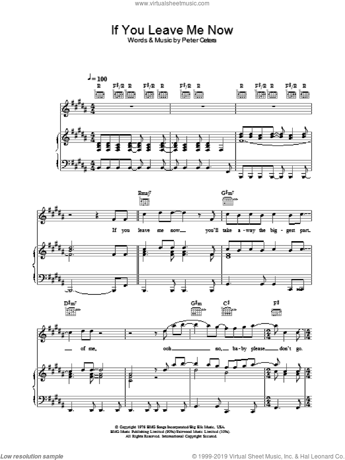 If You Leave Me Now sheet music for voice, piano or guitar by Chicago and Peter Cetera, intermediate. Score Image Preview.