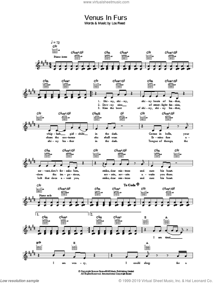 Venus In Furs sheet music for voice and other instruments (fake book) by The Velvet Underground and Lou Reed. Score Image Preview.