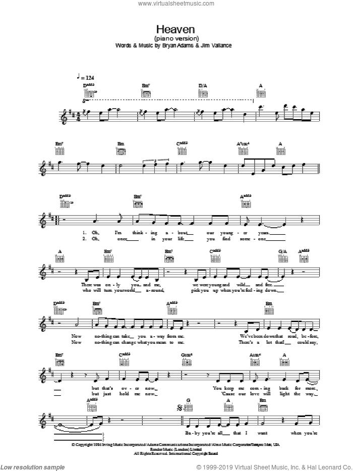 Heaven sheet music for voice and other instruments (fake book) by Jim Vallance, DJ Sammy and Bryan Adams. Score Image Preview.