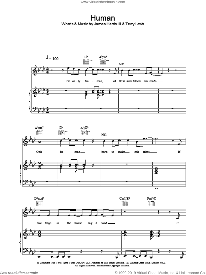 Human sheet music for voice, piano or guitar by Ben Folds Five, James Harris and Terry Lewis, intermediate skill level