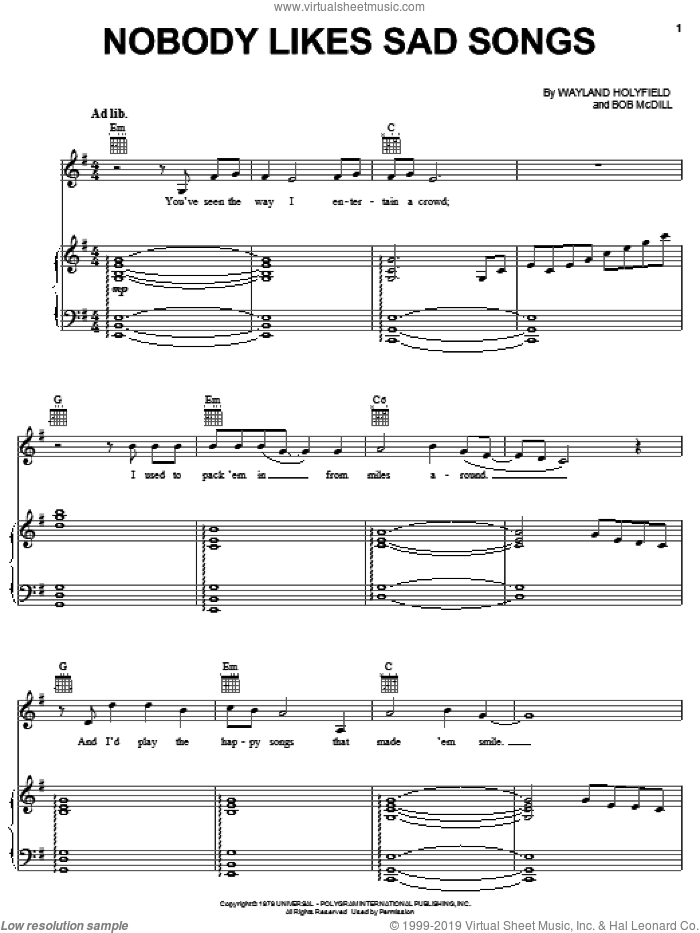 Nobody Likes Sad Songs sheet music for voice, piano or guitar by Wayland Holyfield, Ronnie Milsap and Bob McDill. Score Image Preview.
