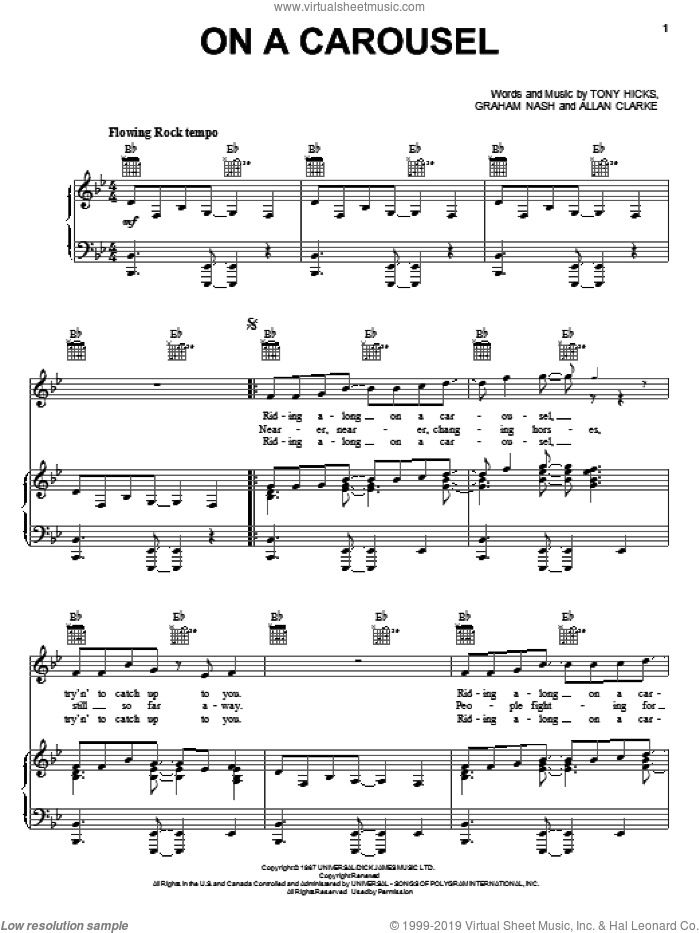 On A Carousel sheet music for voice, piano or guitar by The Hollies, Allan Clarke, Graham Nash and Tony Hicks, intermediate skill level