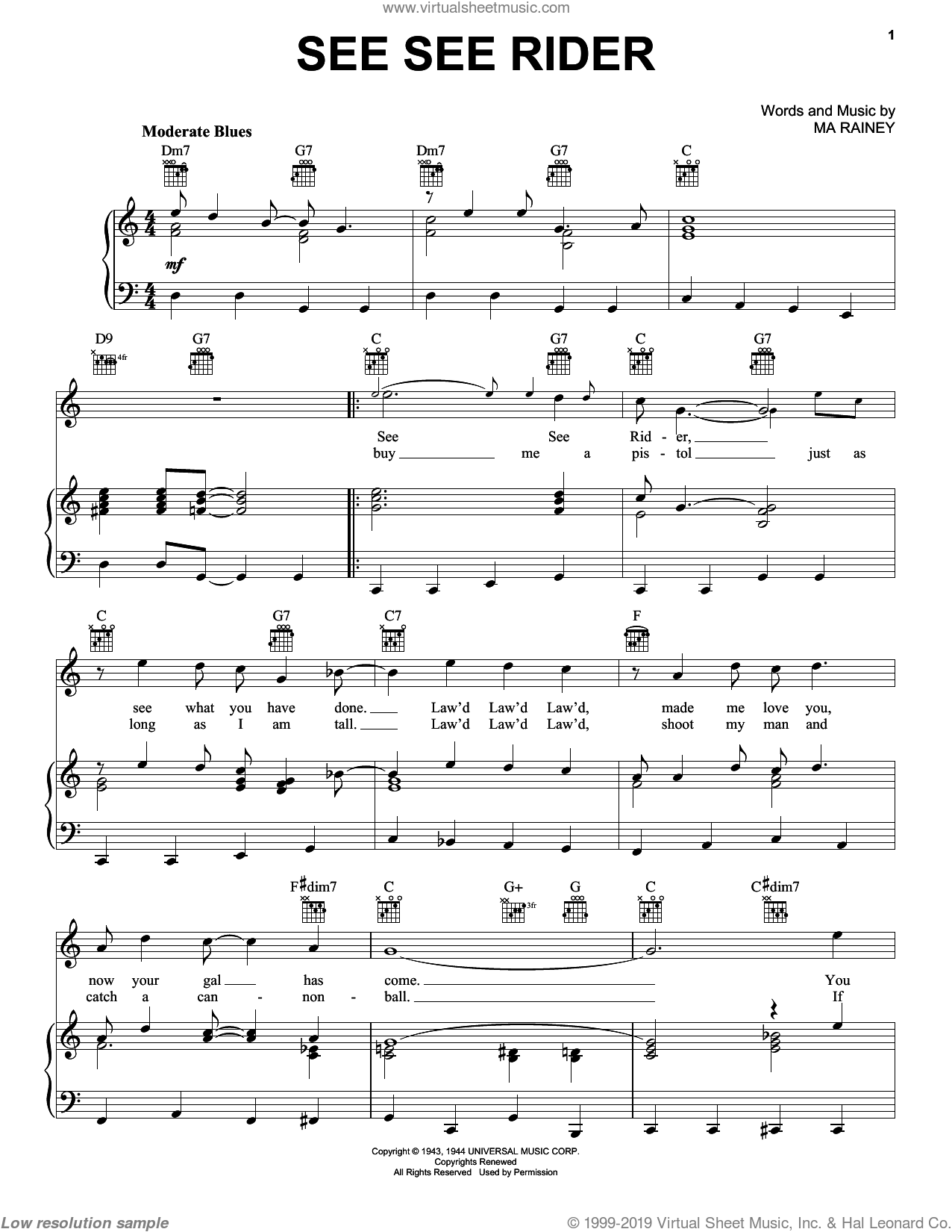 See See Rider sheet music for voice, piano or guitar by The Animals, Big Bill Broonzy, Ray Charles and Ma Rainey, intermediate skill level