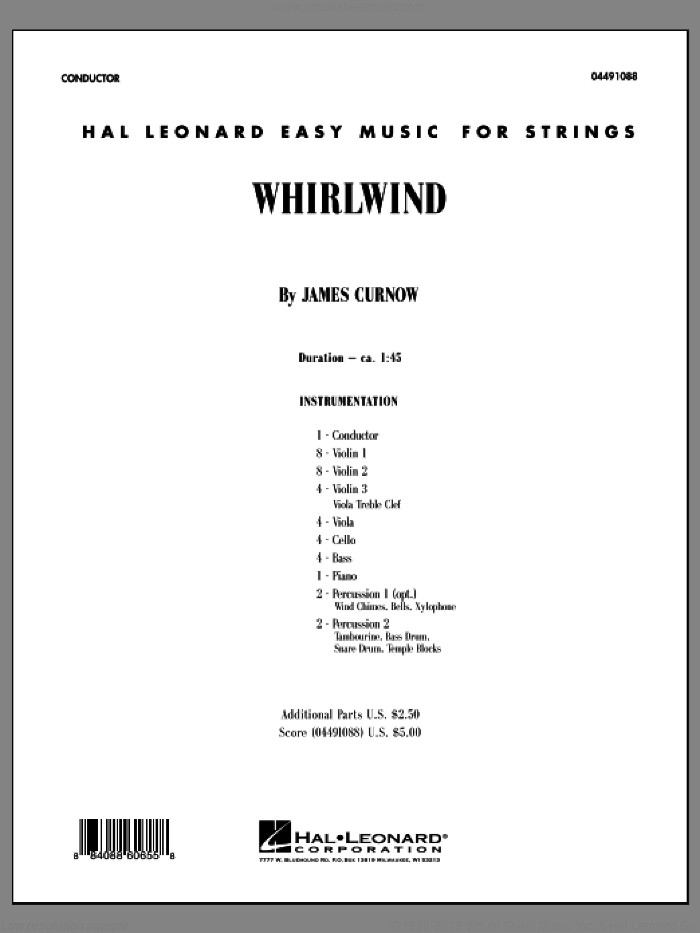 Whirlwind (COMPLETE) sheet music for orchestra by James Curnow, classical score, intermediate orchestra. Score Image Preview.