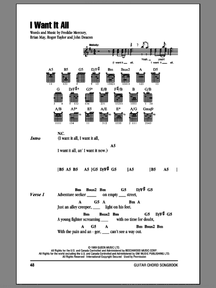 I Want It All sheet music for guitar (chords) by Roger Taylor, Queen, Brian May, Freddie Mercury and John Deacon. Score Image Preview.