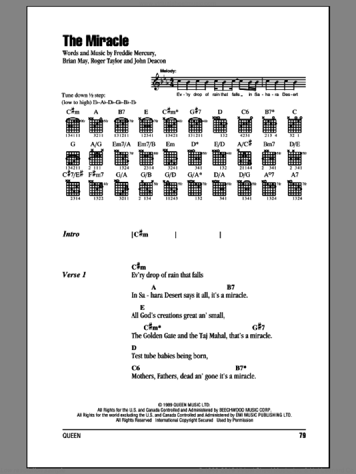 The Miracle sheet music for guitar (chords) by Queen, Brian May, Freddie Mercury, John Deacon and Roger Taylor, intermediate