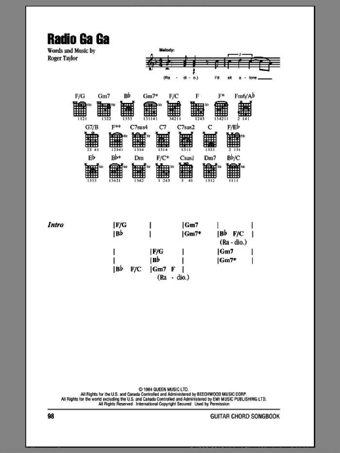 Radio Ga Ga sheet music for guitar (chords) by Queen, intermediate guitar (chords). Score Image Preview.