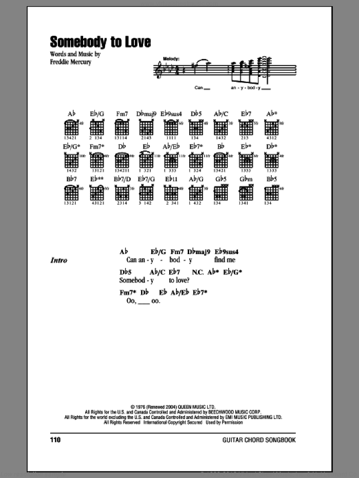 Somebody To Love sheet music for guitar (chords) by Freddie Mercury and Queen. Score Image Preview.