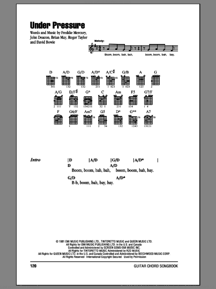 Under Pressure sheet music for guitar (chords) by Queen, Brian May, Freddie Mercury, John Deacon and Roger Taylor, intermediate skill level