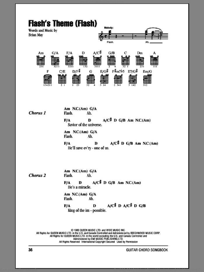 Flash's Theme (Flash) sheet music for guitar (chords) by Brian May and Queen. Score Image Preview.