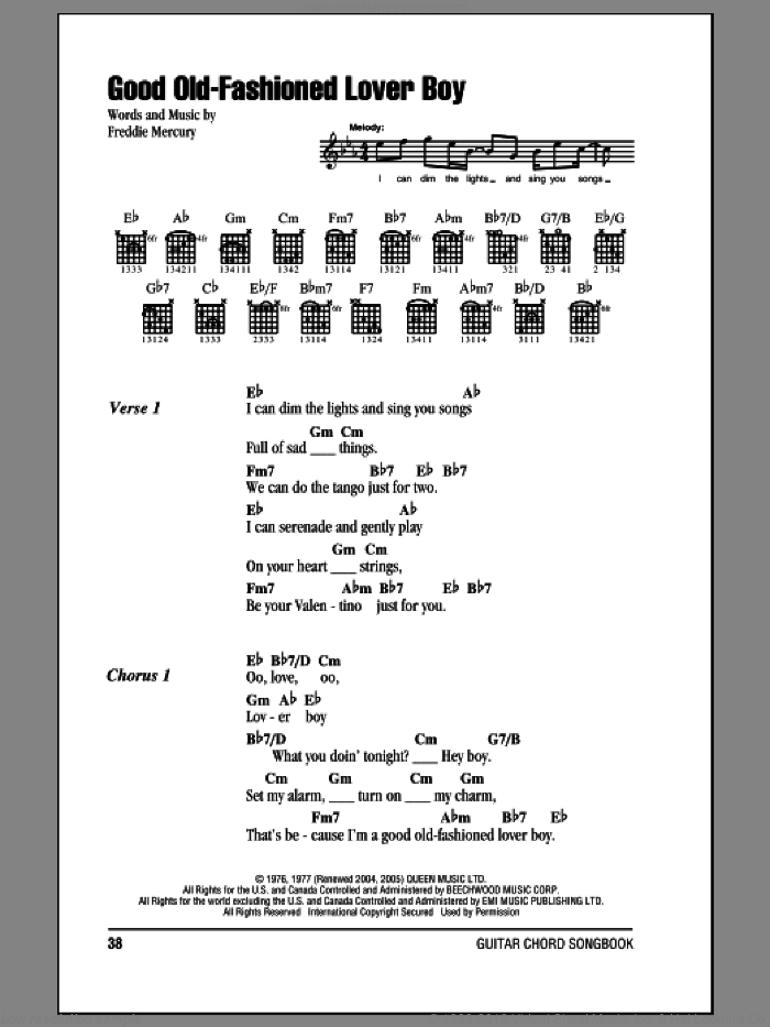 Good Old-Fashioned Lover Boy sheet music for guitar (chords) by Freddie Mercury and Queen. Score Image Preview.