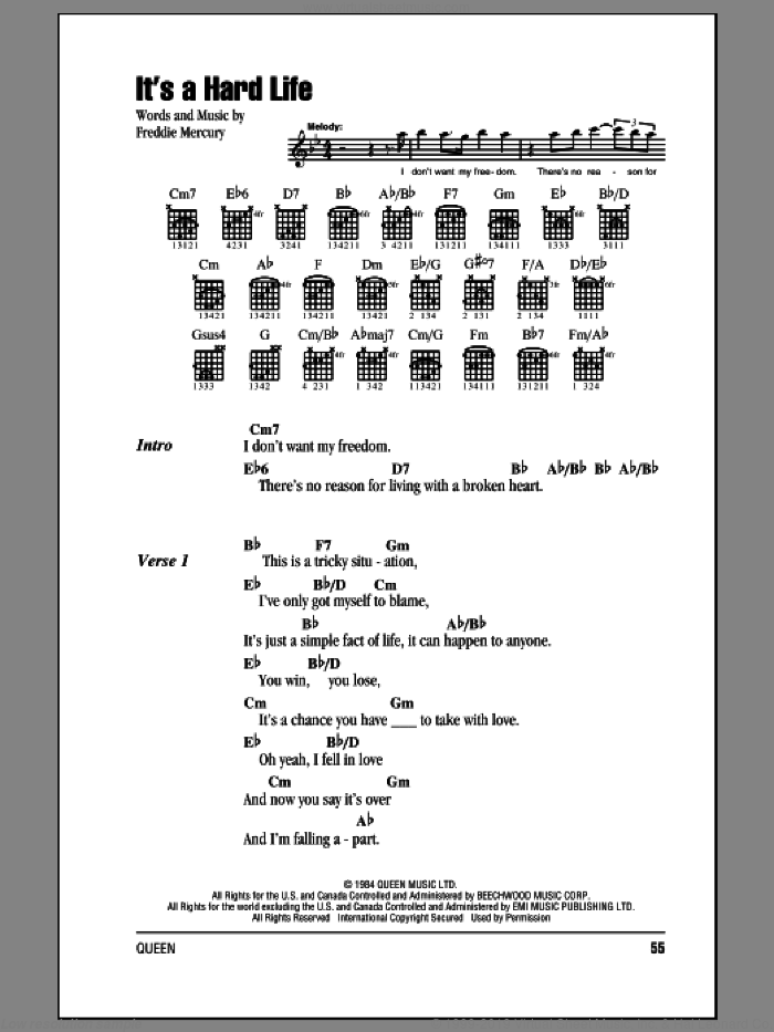 It's A Hard Life sheet music for guitar (chords) by Queen and Freddie Mercury, intermediate