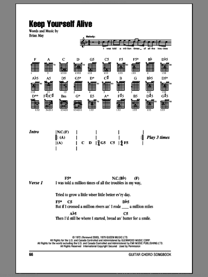 Keep Yourself Alive sheet music for guitar (chords) by Brian May and Queen. Score Image Preview.