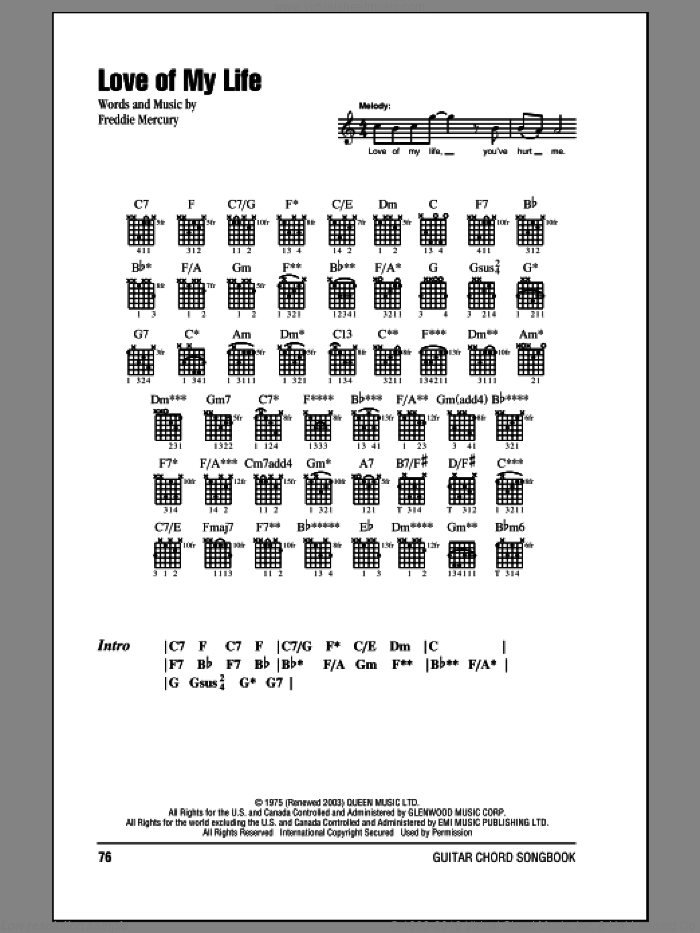 Love Of My Life sheet music for guitar (chords) by Queen and Freddie Mercury. Score Image Preview.
