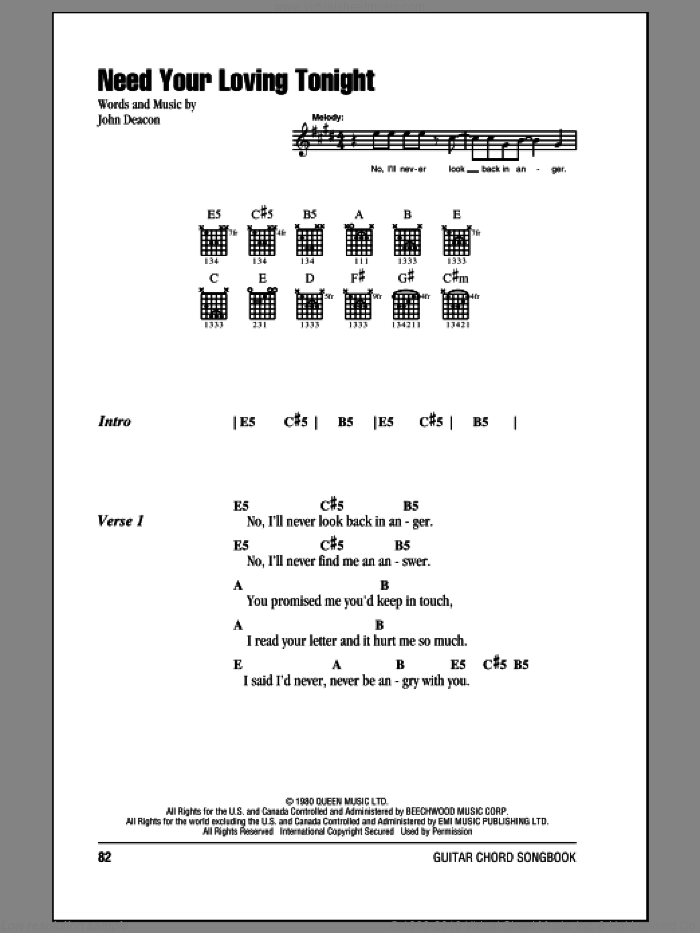 Need Your Loving Tonight sheet music for guitar (chords) by Queen, intermediate guitar (chords). Score Image Preview.