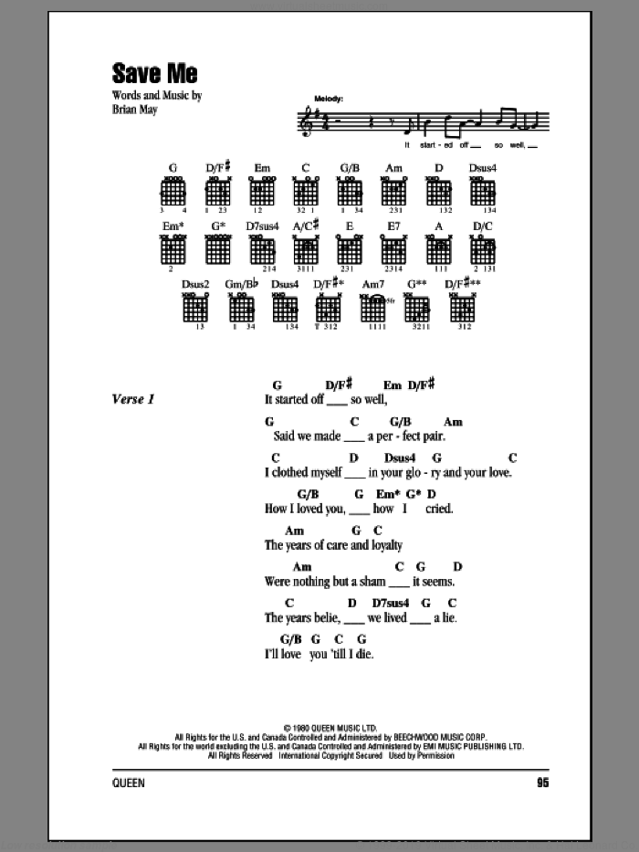 Save Me sheet music for guitar (chords) by Brian May and Queen. Score Image Preview.