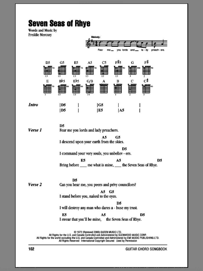 Seven Seas Of Rhye sheet music for guitar (chords) by Freddie Mercury and Queen. Score Image Preview.