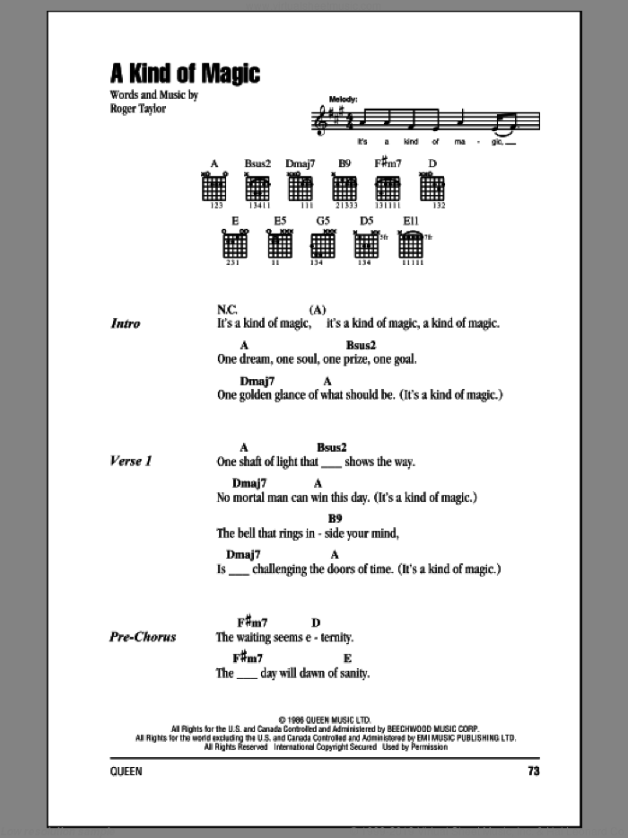 A Kind Of Magic sheet music for guitar (chords) by Roger Taylor and Queen. Score Image Preview.