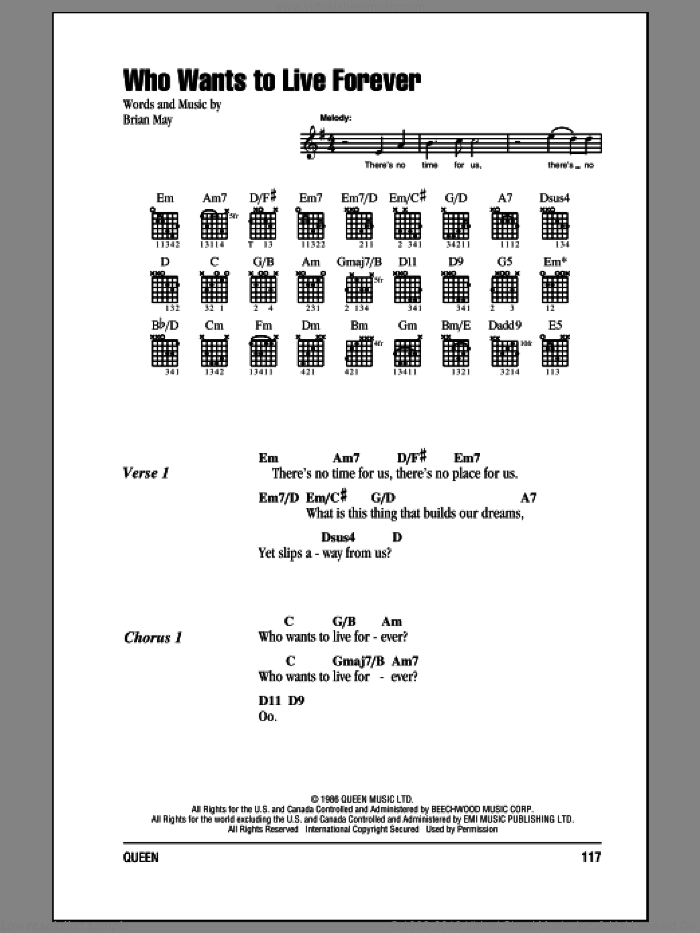 Who Wants To Live Forever sheet music for guitar (chords) by Brian May and Queen. Score Image Preview.