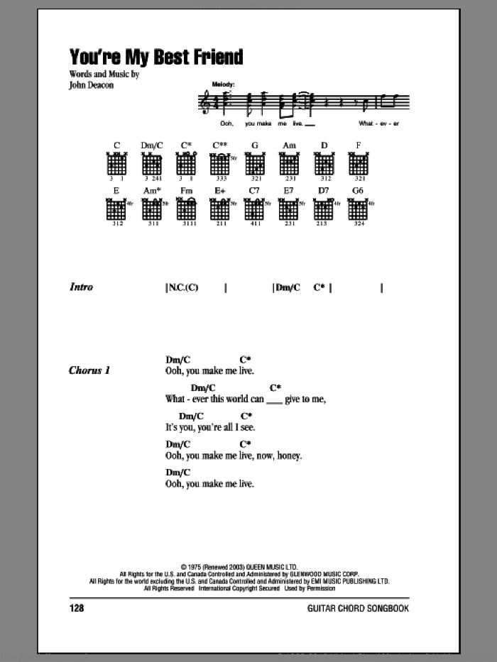 You're My Best Friend sheet music for guitar (chords) by Queen, intermediate guitar (chords). Score Image Preview.