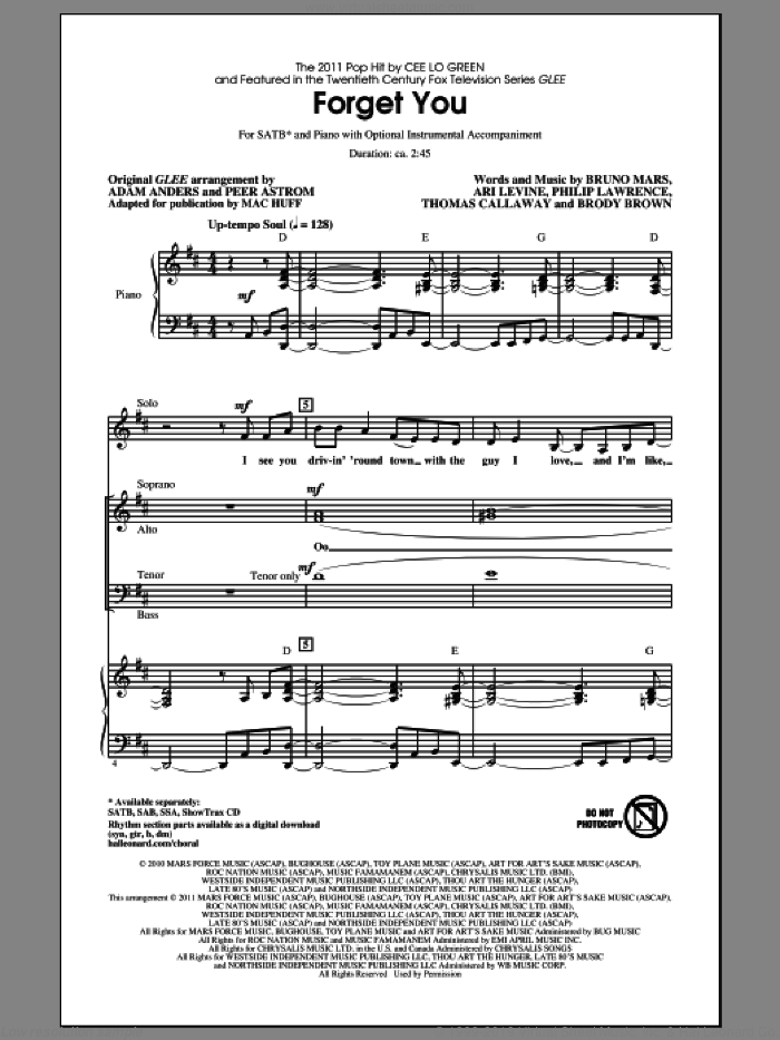 Forget You sheet music for choir (SATB) by Bruno Mars, Ari Levine, Brody Brown, Philip Lawrence, Thomas Callaway, Cee Lo Green, Glee Cast, Mac Huff and Peer Astrom. Score Image Preview.