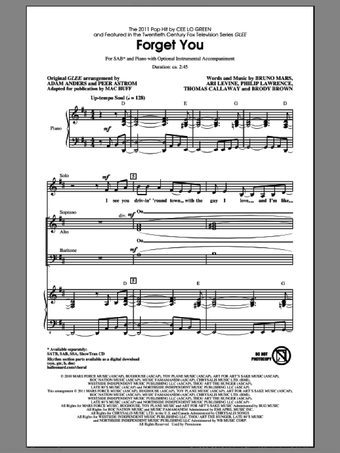 Forget You sheet music for choir (SAB) by Bruno Mars, Ari Levine, Brody Brown, Philip Lawrence, Thomas Callaway, Cee Lo Green, Glee Cast, Mac Huff and Peer Astrom. Score Image Preview.
