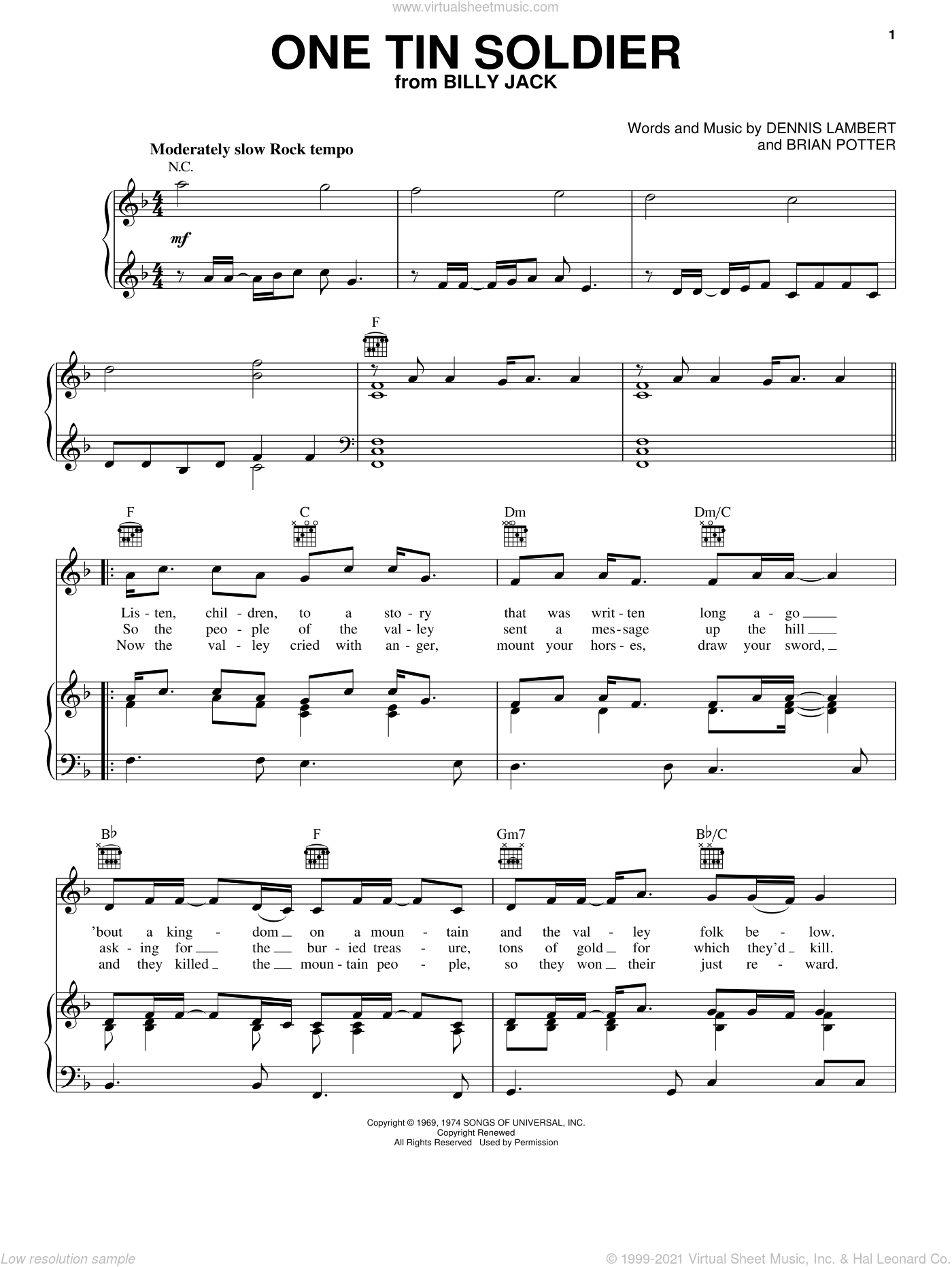 One Tin Soldier sheet music for voice, piano or guitar by Coven, Brian Potter and Dennis Lambert, intermediate skill level