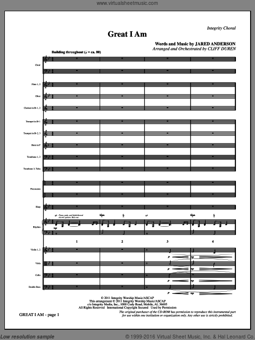 Great I Am, complete set of parts (COMPLETE) sheet music for orchestra by Jared Anderson and Cliff Duren. Score Image Preview.