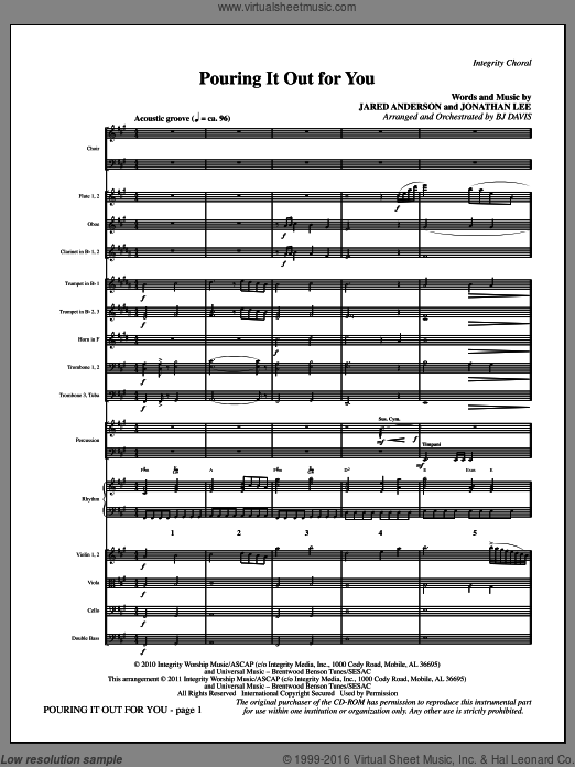 Pouring It Out For You (COMPLETE) sheet music for orchestra by Jared Anderson, Jonathan Lee and BJ Davis. Score Image Preview.