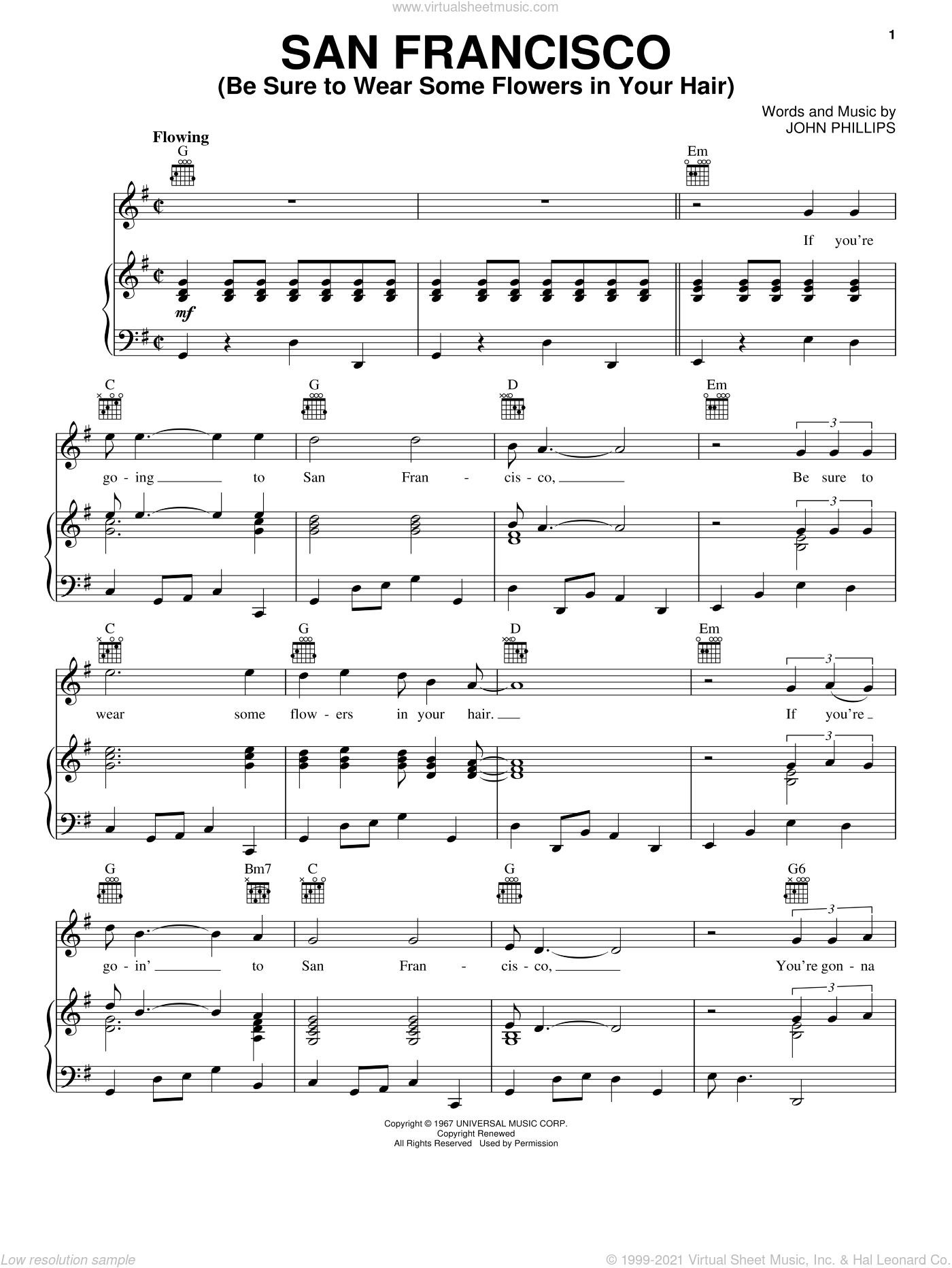 San Francisco (Be Sure To Wear Some Flowers In Your Hair) sheet music for voice, piano or guitar by Scott McKenzie and John Phillips, intermediate skill level