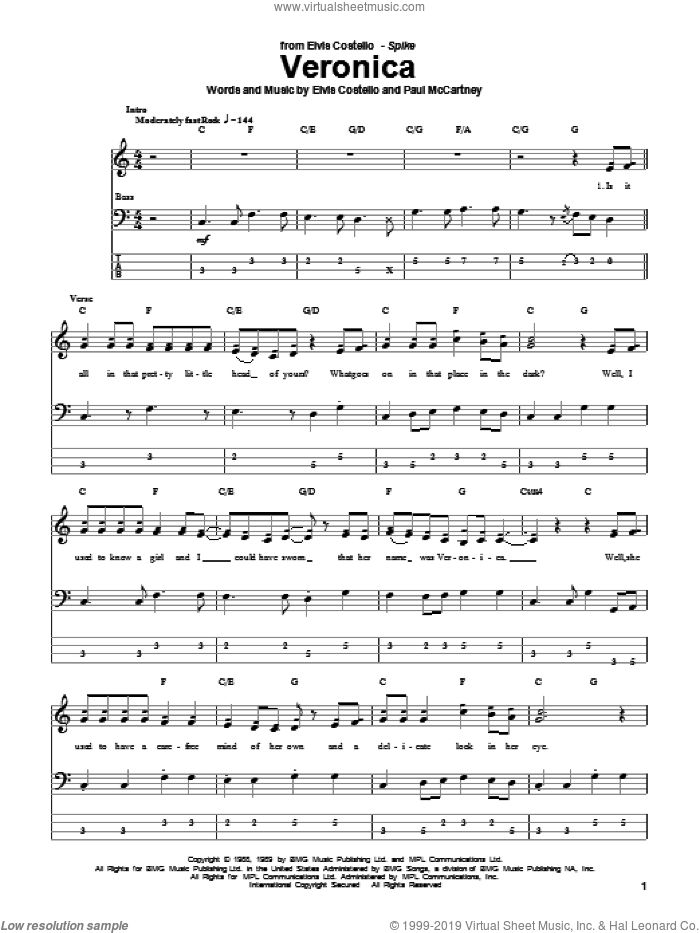 Veronica sheet music for bass (tablature) (bass guitar) by Paul McCartney and Elvis Costello