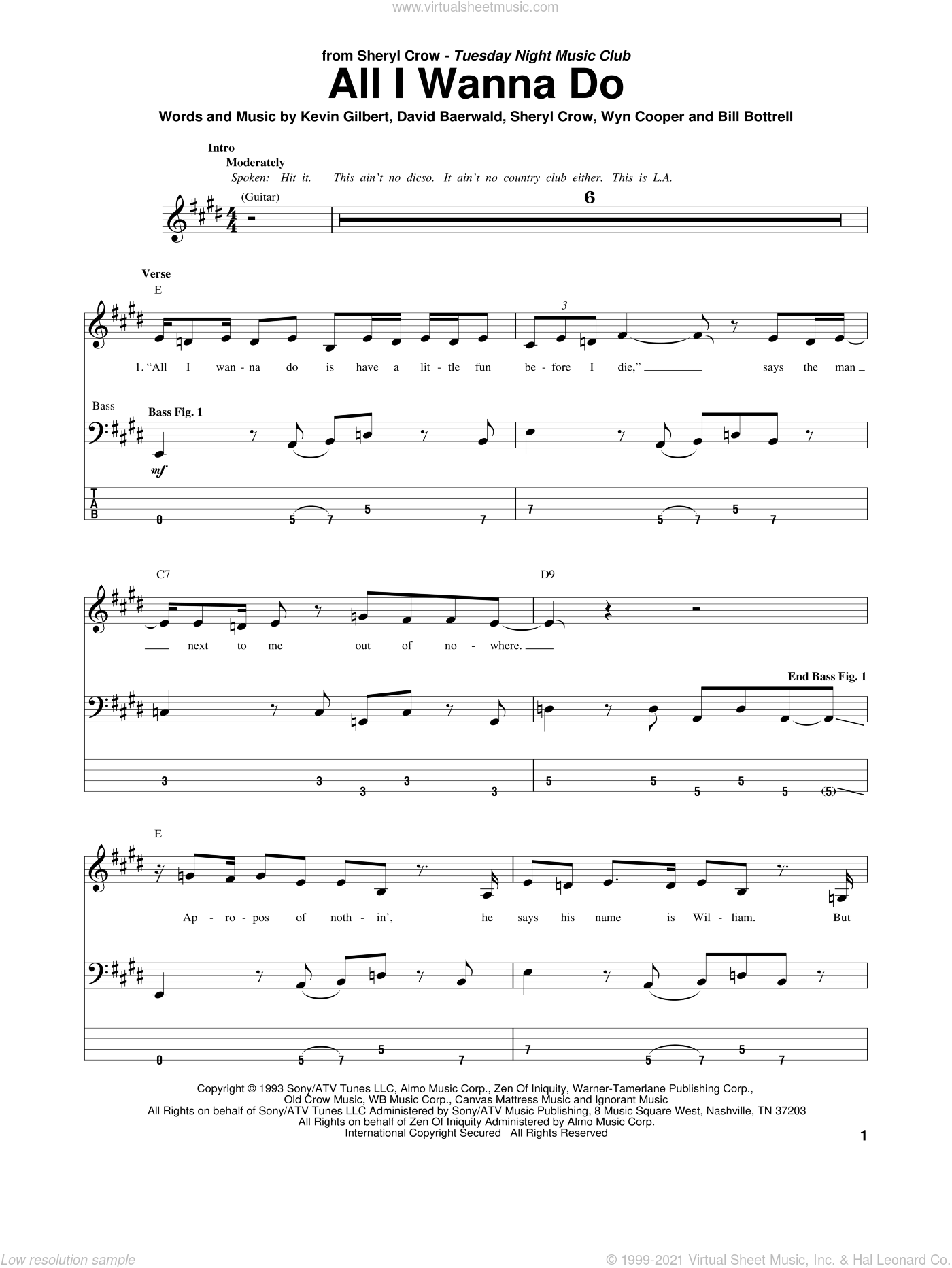 All I Wanna Do sheet music for bass (tablature) (bass guitar) by Sheryl Crow and David Baerwald, intermediate. Score Image Preview.