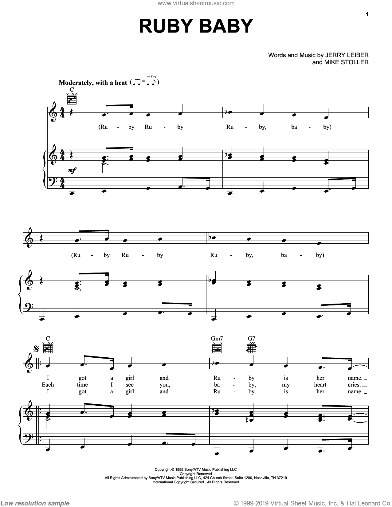 Ruby Baby sheet music for voice, piano or guitar by Mike Stoller