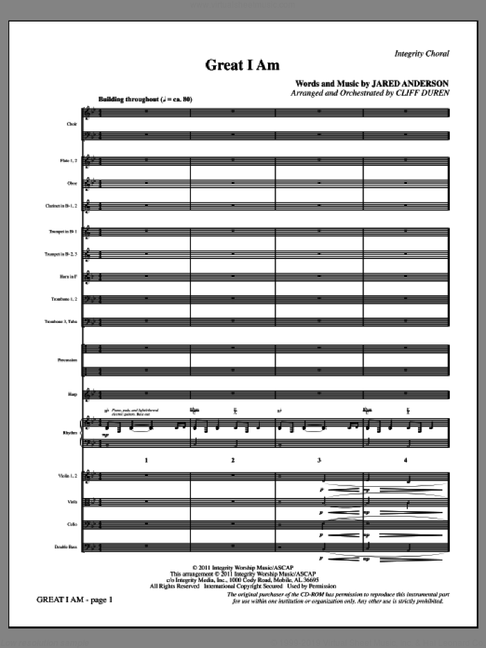 Great I Am (complete set of parts) sheet music for orchestra/band (Orchestra) by Jared Anderson, intermediate. Score Image Preview.